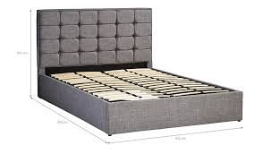 Ottoman Size by Liam Gas Lift Ottoman Bed In Light Grey King Size Beds
