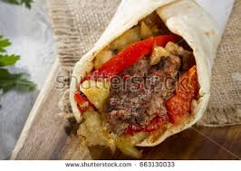 arabic wrap turkish arabic traditional liver doner kebab stock photo 573396655