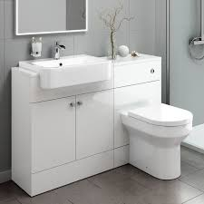 White Gloss Bathroom Furniture 1600mm Bathroom Vanity Basin Sink Cistern Unit Toilet Gloss Grey