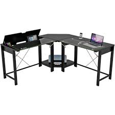 Paper Table L Palomar L Shaped Computer Desk Black Metal And Glass Paper