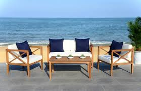 White Outdoor Furniture Pat7031a Patio Sets 4 Piece Furniture By Safavieh