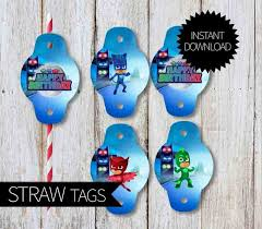 pj masks birthday party printable straw tags instant download