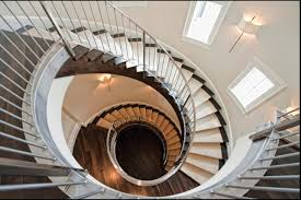 adorable spiral staircase decoration with stainless steel handrail