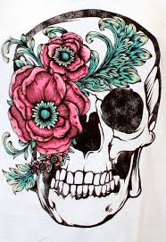 beautiful skull and flower accent for a thigh
