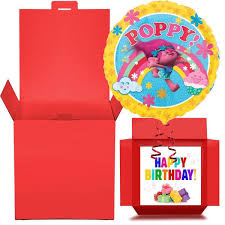 balloon in a box poppy troll happy birthday foil balloon in a box gift free 1st class d