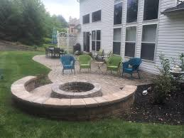 Firepit Seating Patio With Seating Wall And Pit Cleveland Baron Landscaping