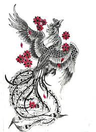 charming grey phoenix and pink cherry blossom in chinese style