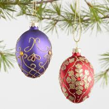 6 pack glass decorative eggs boxed ornaments set of 2 world market