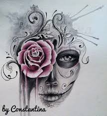 drawn rose girly skull pencil and in color drawn rose girly skull