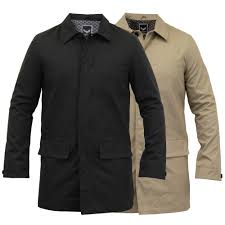 mens jackets brave soul long coat mac trench cotton smart casual