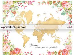 Printable World Map With Countries by Colorful Floral Gold Foil World Map Printable Art Bloom Where You