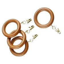 style selections 7 pack oak wood curtain rings