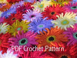 Crochet Designs Flowers Crochet Pattern Gerbera Garden Blanket Afghan Throw Pdf By Kuuyu