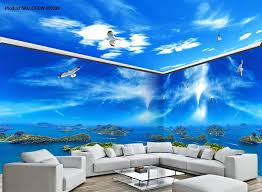 wallpaper for entire wall 3d island view segull blue sky ceiling entire living room wallpaper