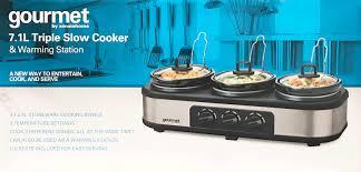 3 Crock Slow Cooker Buffet by Gourmet By Sensiohome 7 1l Triple Slow Cooker Buffet Server