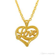 gold love pendant necklace images Wholesale simple design silver gold color heart shape love pendant jpg