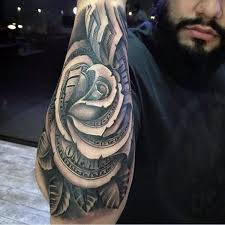 outer forearm guys money rose flower tattoo 3d style 100