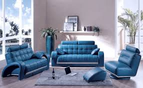 gray and blue living room decor brown ottomans brown leather