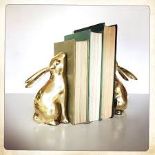 rabbit bookends vintage brass bunny rabbit bookends woodland nursery decor bunny