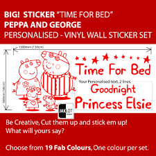 peppa pig time for bed personalised x large vinyl nursery wall