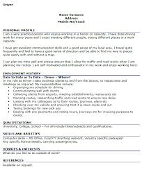 Resume Interests Examples by Driver Cv Examples Icover Org Uk