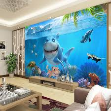 wallpapers for kids bedroom 3d cute shark wallpaper underwater world wall mural personalized
