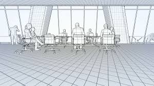 business team in conference room rear view sunset 3d sketch to