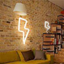 thunder shape wall light hanging lights lightning usb led lamp for