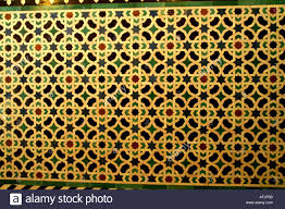 moorish patterns on tiles in alcazar former moorish fortress in