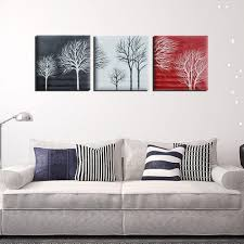online get cheap painted wall art with black white red tree 2017 3pcs set black white red tree modern abstract hand painted oil paintings on canvas home wall art decor no frame