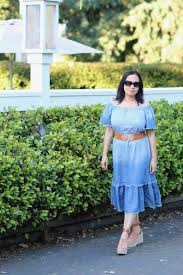 chambray dress with tan accessories my life and my style