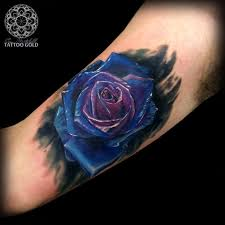 gorgeous blue roses tattoos on arm real photo pictures images