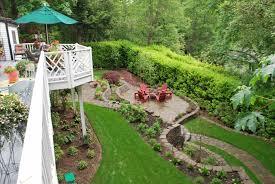 yard slope landscaping gardening ideas best sloped backyard on