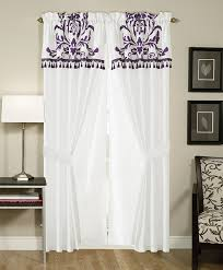 amazon com chezmoi collection 2 panel purple and white floral