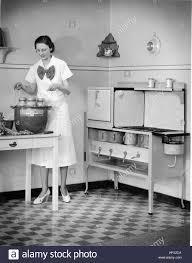 prim homemaker in front of a