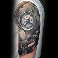tattoo compass realistic realistic rope tattoo on left half sleeve
