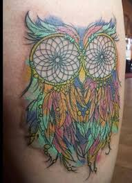 owl dream catcher rainbow color tattoo i don u0027t care for tattoos