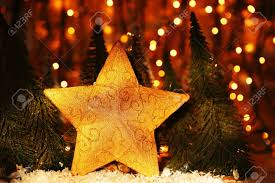 christmas tree star decoration with winter ornament as holiday