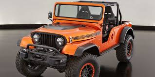 orange jeep 2017 jeep cj66 vehicles on display chicago auto show