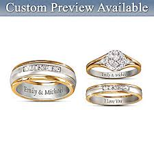 wedding rings his hers together forever his hers personalized set of diamond wedding rings