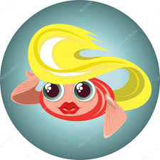 cute cartoon blonde little fish in a circle u2014 stock vector