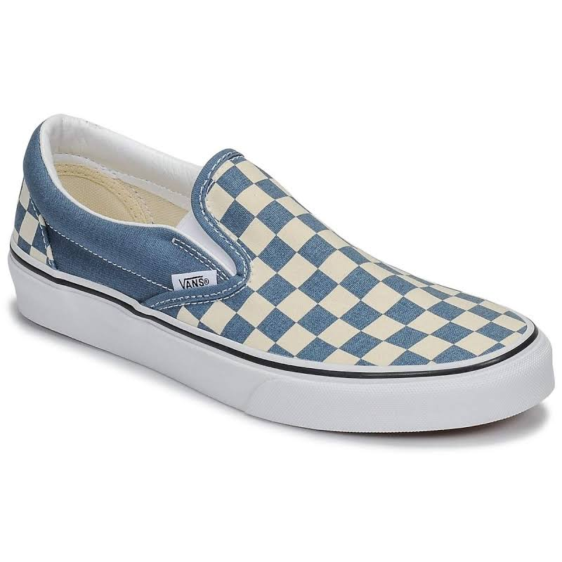 Vans Classic Slip-On (Checkerboard Blue Mirage/True White) Skate Shoes-8