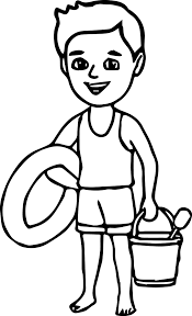 summer boy on the beach coloring page wecoloringpage