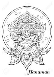monkey thai outline illustrator royalty free cliparts vectors
