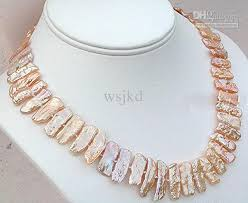 real pink pearl necklace images 14kg pink japanese biwa stick pearl necklace 18 20 online with jpg
