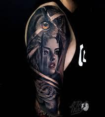 tattoo girl owl owl girl portrait with a rose best tattoo design ideas