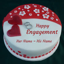 Engagement Cakes Happy Engagement Cake With Couple Ring And Your Name