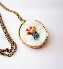 necklace pendant knots images Hand embroidered flower necklace french knots multicolor floral JPG