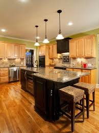 Kitchen With Light Cabinets Light Cabinets With Dark Island Cabinet Combo Black And Light
