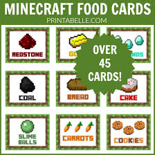 minecraft cards minecraft food cards 12 pages printables for kids